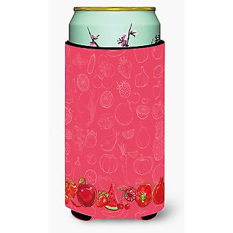 Fruits and Vegetables in Red Tall Boy Beverage Insulator Hugger