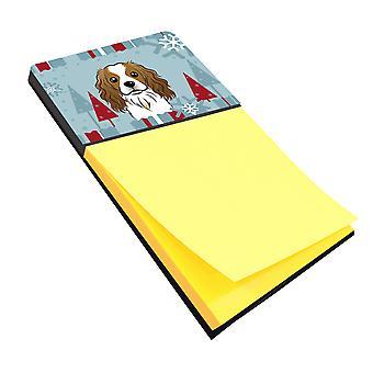 Carolines Treasures  BB1720SN Winter Holiday Cavalier Spaniel Sticky Note Holder