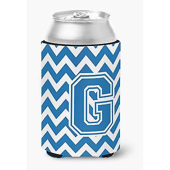 Letter G Chevron Blue and White Can or Bottle Hugger