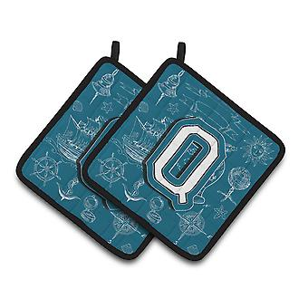 Letter Q Sea Doodles Initial Alphabet Pair of Pot Holders