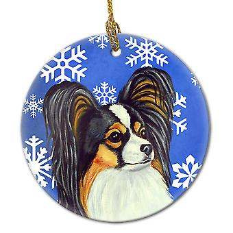 Carolines Treasures  LH9300-CO1 Papillon Winter Snowflake Holiday Ceramic Orname