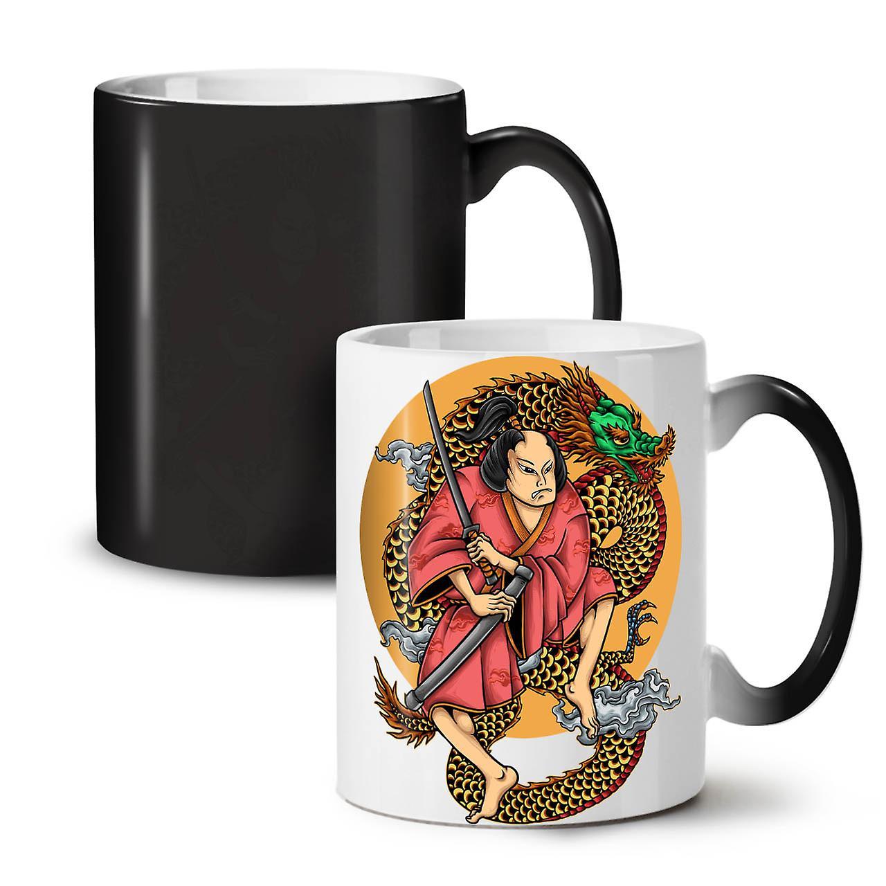 Tea Dragon 11 Ceramic Mug Art Changing Colour New Sword OzWellcoda Coffee Black 5A4jL3R
