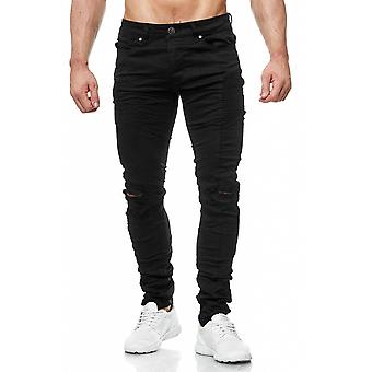 Used torn trousers mens jeans black biker ripped destroyed