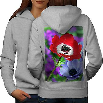 Flor del campo arte naturaleza mujeres GreyHoodie respaldo | Wellcoda