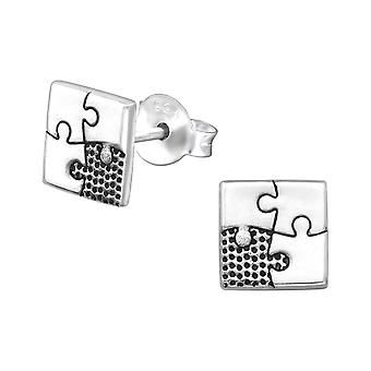 Square Jigsow - 925 Sterling Silver Plain Ear Studs