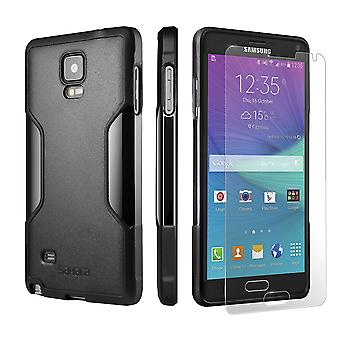 SaharaCase Galaxy Note 4 Black Case, Classic Protection Kit with ZeroDamage Tempered Glass