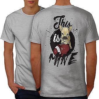 Cute Mad Puppy Men GreyT-shirt Back   Wellcoda