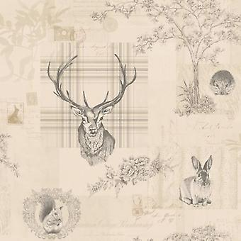 Animal Print Wallpaper Woodland Stag Rabbit Trees Flowers Linen Charcoal