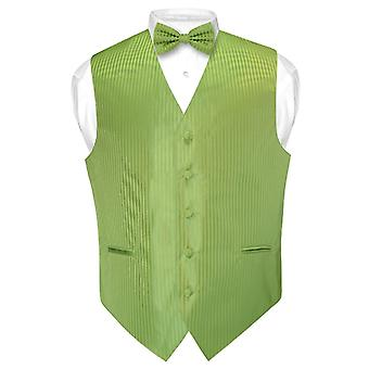 Men's Dress Vest & BOWTie Vertical Stripe Design Bow Tie Set
