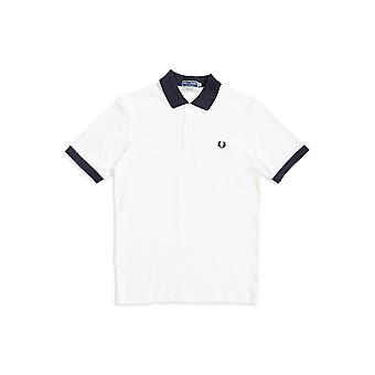Fred Perry Contrast Rib Pique Polo Shirt White