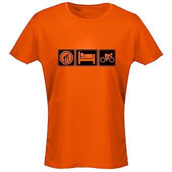 Comer dormir ciclismo mujer camiseta 8 colores (8-20) por swagwear