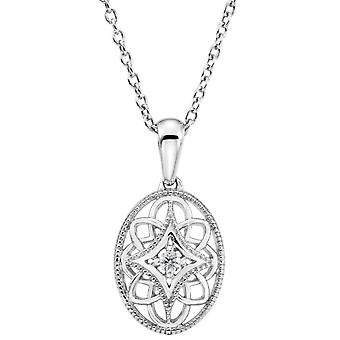 Sterling Silver Diamond Necklace 18 Inch .03ct