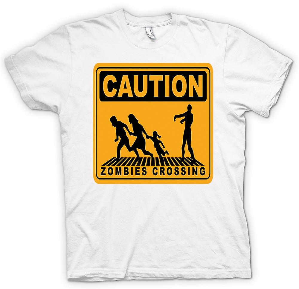 Womens T-shirt - Caution Zombies Crossing - Funny