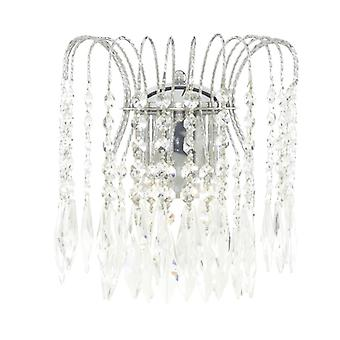 Waterfall Chrome  2 Light Wall Bracket Complete With Crystal