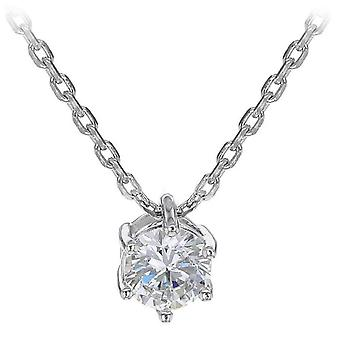 IBB London Round Solitaire Cubic Zirconia Pendant Necklace - Silver