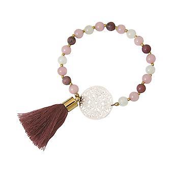 Gemshine - Mala Armband - Vergoldet - Edelstein - Rose - Beige