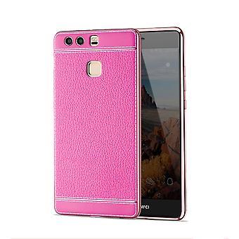 Mobile Shell para Huawei P10 Lite bolsa de protección caso de parachoques casos imitación cuero rosa