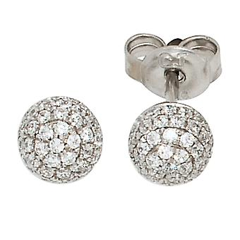 Ball Stud Earrings 925 sterling silver rhodium plated with 94 cubic zirconia earrings silver