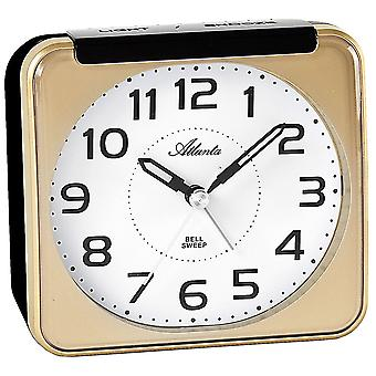 Atlanta 1955/9 alarm clock quartz analog golden quietly without ticking with light Snooze