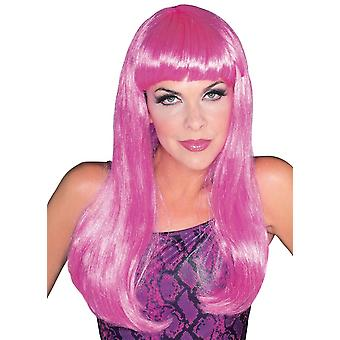 Glamour Pink Long Hair With Bang Fringe 1980s Disco Hen Night Womens Costume Wig
