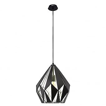 Eglo Carlton Geometric Black And Silver Leaf Pendant Light