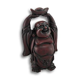 Cherry Finish Laughing Buddha Figurine