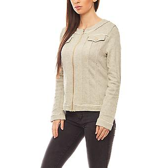vivance collection elegant ladies knit Blazer gold-grey