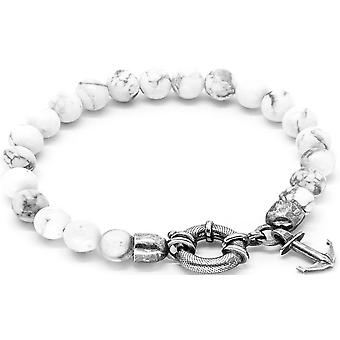 Anchor and Crew Port Silver and Howlite Stone Bracelet - White/Silver