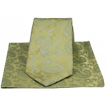 David Van Hagen Luxury Paisley Tie and Handkerchief Set - Gold