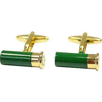 David Van Hagen Shotgun Cartridge Country Cufflinks - Green/Gold