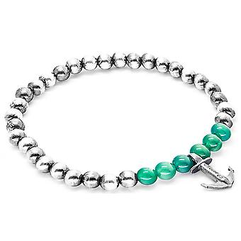 Anchor and Crew Keel Silver and Agate Stone Bracelet - Green/Silver