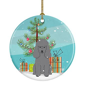 Merry Christmas Tree Poodle sølv keramiske Ornament