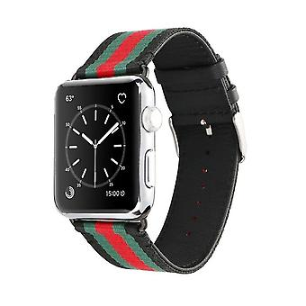Nylon Strap for Apple Watch 3/2/1 38 mm-Black/green/red