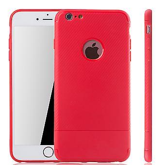 Apple iPhone 6 / 6s Plus Handyhülle Schutzcase Carbon Optik Bumper Rot