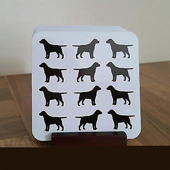 Labrador Monochrome Coaster Set of 4 Cork Backed with holder