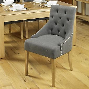 Oak Accent Upholstered Dining Chair - Slate (Pack Of Two) - Baumhaus