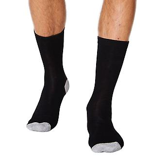 Solid Jack men's soft plain bamboo crew socks in black | By Thought