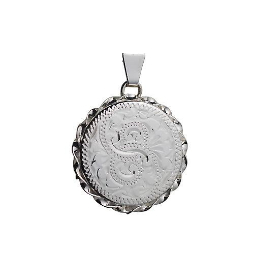 Silver 22mm hand engraved twisted wire edge flat round Locket