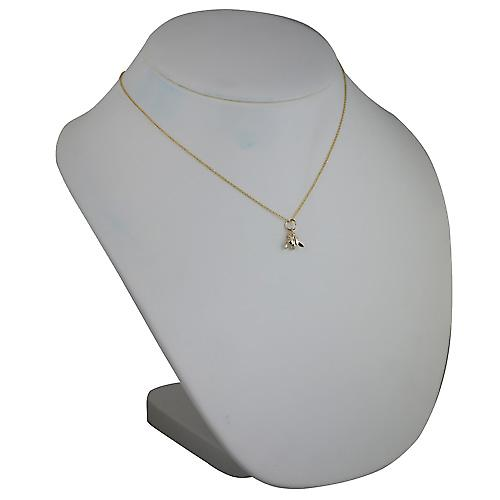 9ct Gold 10x11mm Bee Pendant with a cable Chain 18 inches