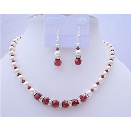 Pearls & Crystals Handcrafted Jewelry White Pearls & Siam Red Crystals