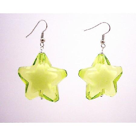 Stylish Girls Jewelry Fashionable Peridot Star Earrings