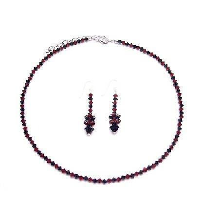 Swarovski Siam Red & Jet Black Swarovski Crystals Necklace Jewelry Set