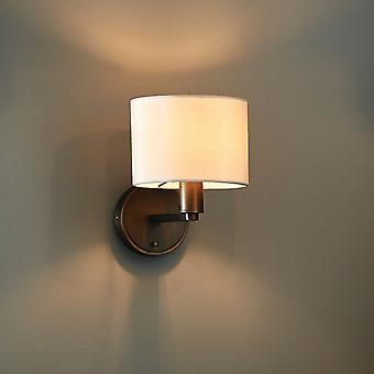 Endon Collection  Daley Single Wall Light In Antique Bronze And A Marble Faux Silk Shade