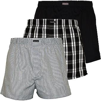 Calvin Klein 3-Pack Stripe, Plaid & Plain Boxer Shorts, Black/Grey