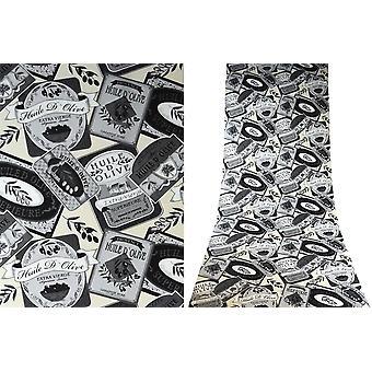 Rasch Quality Textured Vinyl Washable Feature Wallpaper - Grey Black Cream White