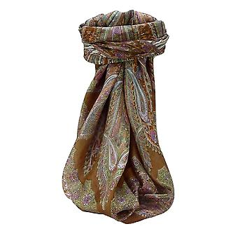 Pañuelo cuadrado de seda tradicional de Mora Vahi castaño por Pashmina y seda