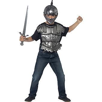 Medieval satt for barna hjelm brynje sverd