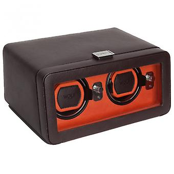 Wolf Designs Windsor Orange & Brown Leather Double Watch Winder 2.5 With Cover