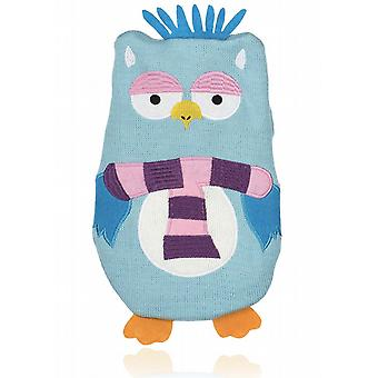 Frosty Friends 1L Knitted Hot Water Bottle: Blue Owl
