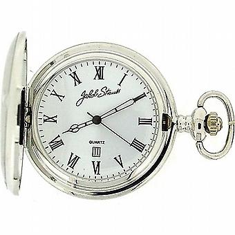 Jakob Strauss Silver Metal Tone Gents Date Pocket Watch on 12